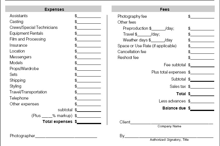Photography Invoice FinalCommercialPhotographyInvoice The