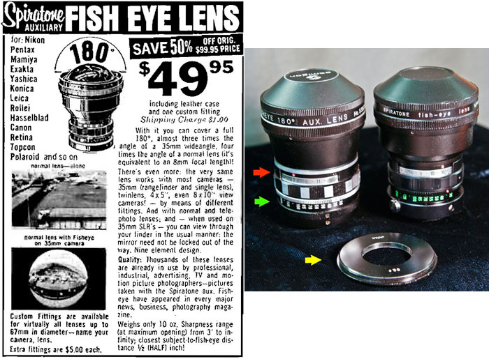 14f57264af62 and a fisheye lens that Spiratone used to sell. 180 degree FOV  To the best  of my knowledge