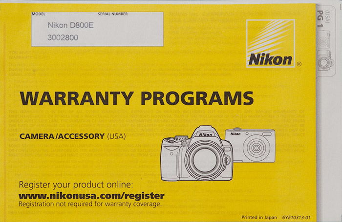 check nikon warranty serial number