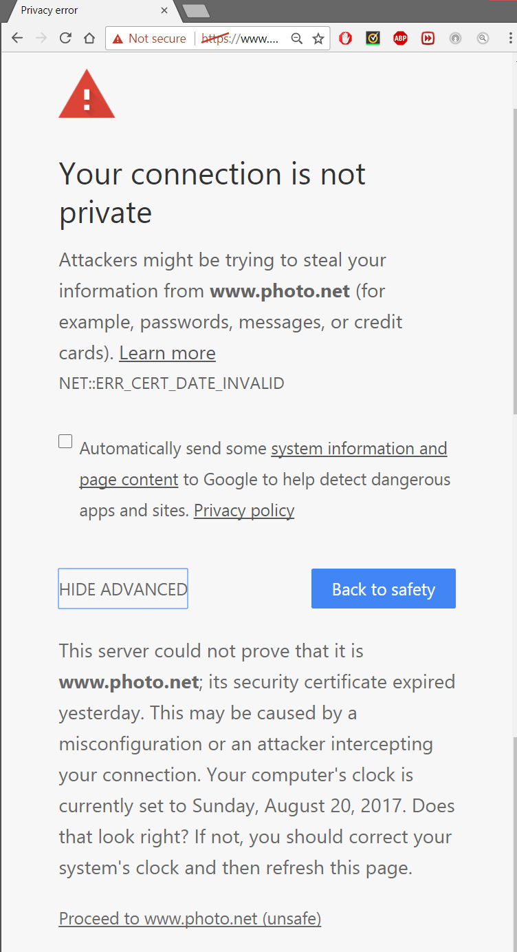 Chrome Issues With Photo Security Certificate Expired Photo